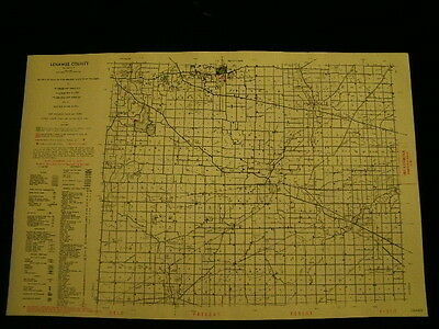 Vintage Map 1955 Lenawee County Conservation DNR MICHIGAN MI
