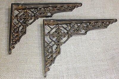 """2 old Shelf support brackets 5 X 7"""" vintage 1880's smooth cast iron hex web"""