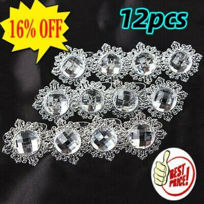12x Silver Diamond Napkin Ring Serviette Holder Wedding Banquet Dinner Decor