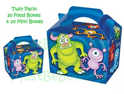 16 Monster Blue Food Boxes ~ Fun Aliens Carry Meal Box ~ Birthday Party Plate