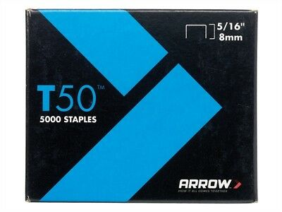 Arrow T50516S Box of 1250 8mm 5/16in T50 Staples