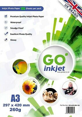 100 Sheets A3 260gsm Glossy Photo Paper for Inkjet Printers by GO Inkjet