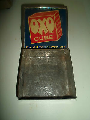 "Original Vintage Oxo Cube 4.5"" Tin With Directions For Use On Rear+Hinged Lid"