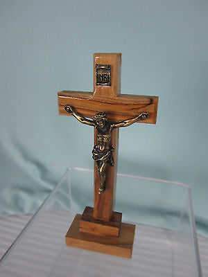 Bethlehem Standing Crucifix 5 in tall Olive Wood Solid Pewter Corpus Jesus EPOC