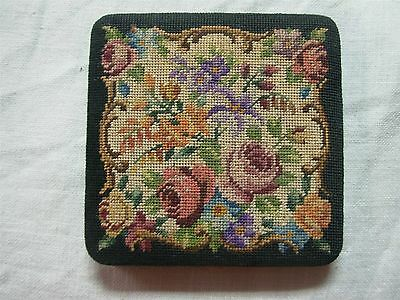 Vintage Micro Petit Point Tapestry Powder Compact With Roses & Flowers