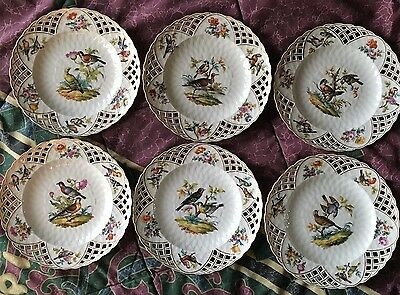 Lovely Antique Set of 6 KPM Berlin Handpainted Bird Plates