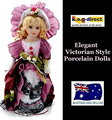 Victorian Style Fine Porcelain Doll Sarah Pink Clothing New 40Cm Tall B29