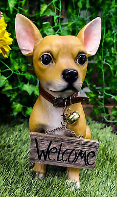 Spicy Mexican Short Coat Chihuahua Dog Large Figurine W/ Welcome Sign Statue