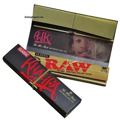 2 packs WIZ KHALIFA CONNOISSEUR Raw King Size Slim Rolling Papers,Tips and POKER