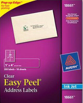 "Avery18661 Clear Address Labels for Inkjet Printers 200 labels 1"" x 4"""