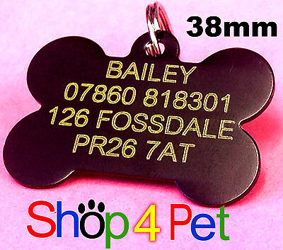 Pet ID Tag 38mm Aluminium Dog Tags Engraved Free with YELLOW infill Engraving
