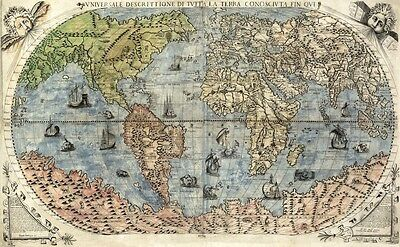 MP70 Vintage 1565 Historical Antique Old World Nautical Map Poster A1/A2/A3