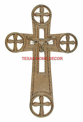 Longhorn Wall Cross Cast Iron Stars Enclosed Crosses Rustic Ranch Western Decor