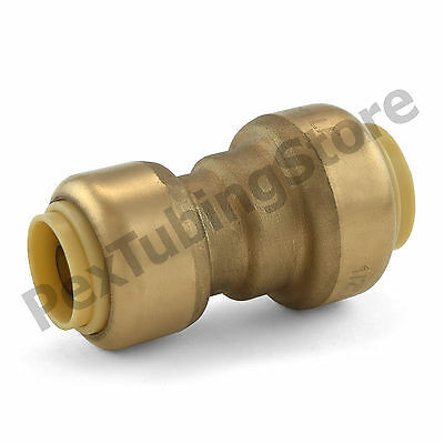 "1/2"" x 3/8"" Sharkbite Style Push-Fit Lead-Free Brass Reducing Coupling Fitting"