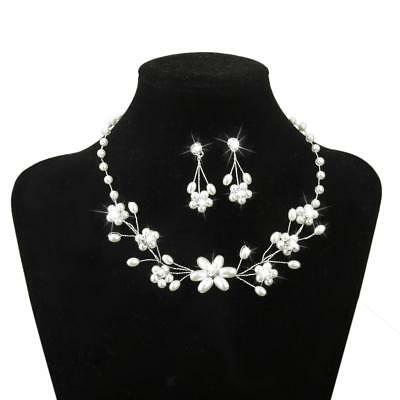Wedding Bridal Necklace Earrings Jewelry Set Crystal Ivory Pearls Beaded