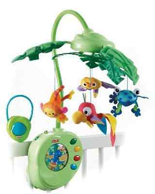 Fisher Price Rainforest Peek-A-Boo Leaves Baby Infant Crib Musical Mobile