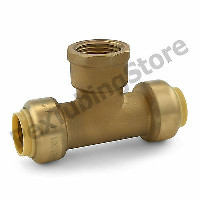"1/2"" Sharkbite Style Push-Fit x 1/2"" FNPT (Female Threaded) Lead-Free Brass Tee"