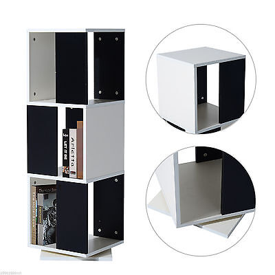 HOMCOM 3 Tier Wooden Rotating Swivel Storage Tower Bookcase Rack Home Office