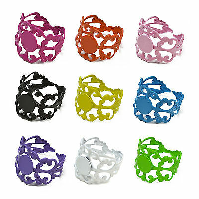 5/10pcs COLOUR Coated Adjustable FILIGREE RING Base Blank Wrap Jewelry Findings