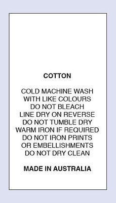 Cotton Cold Machine Wash Do Not iron Print Sewing Washing Care Label 4 Pack Size