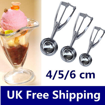 3 x Stainless Steel 4/5/6cm Scoop for Ice Cream Mash Food Spoon Kitchen Ball LE