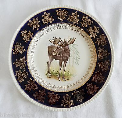 Solian Ware Simpsons Potters England  MOOSE PLATE Cobalt & Gold wildlife