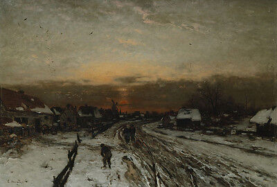 Oil painting ludwig munthe winter landscape with sunset village snow at dusk art
