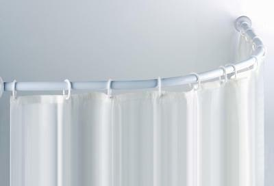 'C' SHAPED CURVED WHITE SHOWER RAIL ROD  for Corner Showers 90cmx90cm
