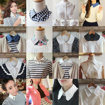 Women Girl Lace Fake Peter Pan Collar Detachable Neckline Half Shirt Blouse Lots