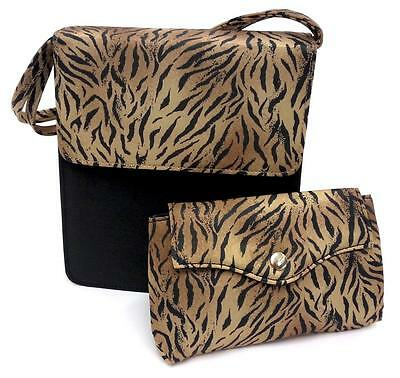 Wholesale Box 40 Tiger Print Travel Bags Makeup Handbag With Soft Matching Purse