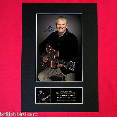 GLEN CAMPBELL Mounted Signed Photo Reproduction Autograph Print A4 279