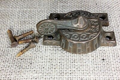 Window sash lock rustic swing arm latch 1880's vintage old tarnish copper flower