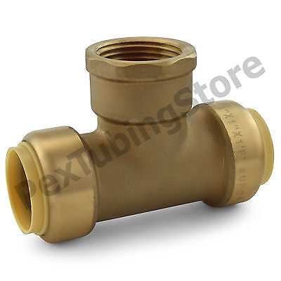 "1"" Sharkbite Style Push-Fit x 1"" FNPT (Female Threaded) Lead-Free Brass Tee"