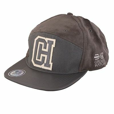 Mens Designer Crosshatch Retro Peak Snap Back Baseball Cap Hat - Grey
