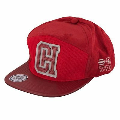 Mens Designer Crosshatch Retro Peak Snap Back Baseball Cap Hat - Red