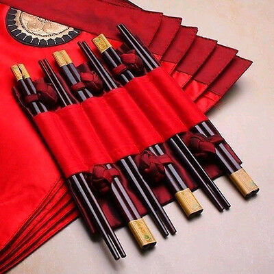New Asian 6 Red table cloth placemats napkins + 6 pairs bamboo chopsticks set AA