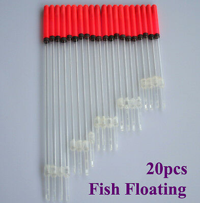 20 Clear Crystal Waggler Fishing Fish Floats Floating Stem Tube Set kits