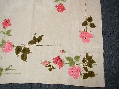 "VINTAGE LIGHT TAN LINEN TABLECLOTH with PINK LONG STEM ROSES 38"" x 40"""