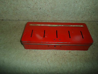 VINTAGE RETRO Quirky 1950s-60's Old RED Cash 5 Section Thrift Savings Tin No Key