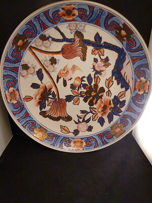 """ANTIQUE Chinese Porcelain LARGE PLATE  18"""" in.  Export  Blue White Guilded Imari"""