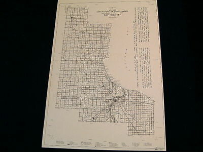 Vintage Map 1938 BAY County Conservation DNR MICHIGAN