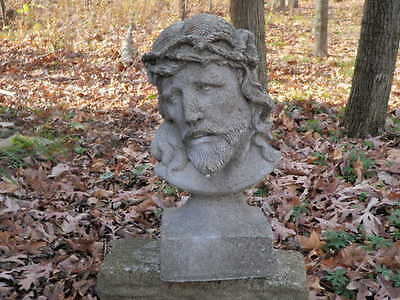 "Vtg Cement 14"" Jesus Christ Crown Of Thorns Garden Art Statue Weathered Concrete"