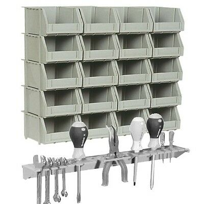 Wall Mountable Storage Bins Bin Kit & Greytool Organiser Rack & 20 Plastic Bins