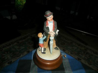 Vintage Price Products Rotating Music Box Porcelain Figurine Man/Child/Puppy VG