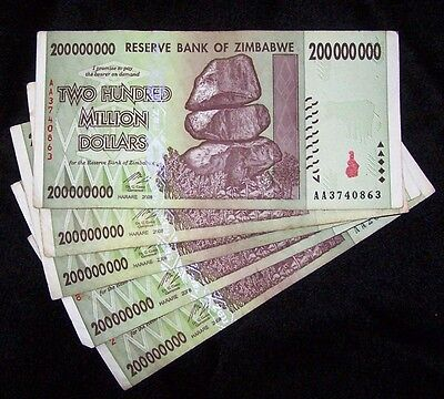5 x Zimbabwe 200 Million Dollar Banknotes-paper money currency