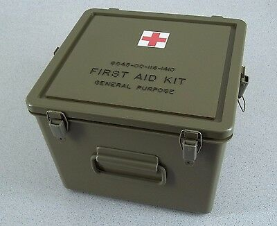 Military First Aid Kit Hard Case Box w Weatherproof Sealed Lid NOS 11x11x8