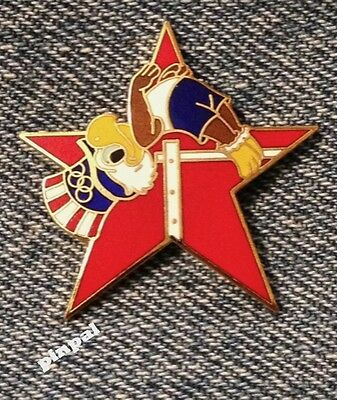 Track & Field~High Jump Olympic Pin~1984~Mascot~Sam the Eagle~Red Star