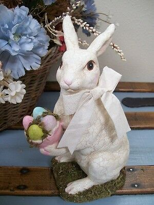 "NWT RAZ 8.75"" Easter Bunny Rabbit & Colored Eggs Spring Figurine Decoration"