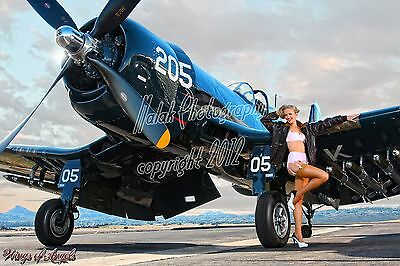 Wings of Angels Malak Pin Up Print Ashten A Leg Up Vintage WWII F4U-4 Corsair