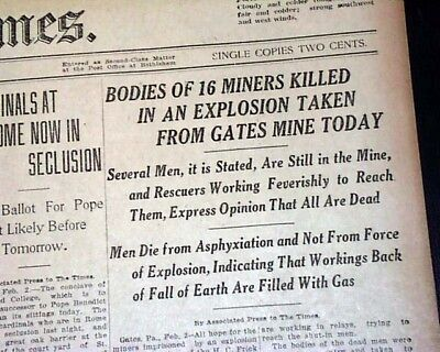 GATES Fayette County PA Pennsylvania Mine Mining EXPLOSION 1922 Old Newspaper